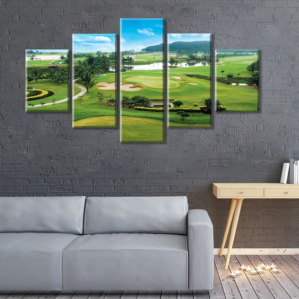 Most Recent Golf Canvas Wall Art For Clearance Miles Golf Course 5 Panels Stretched And Framed (View 19 of 20)