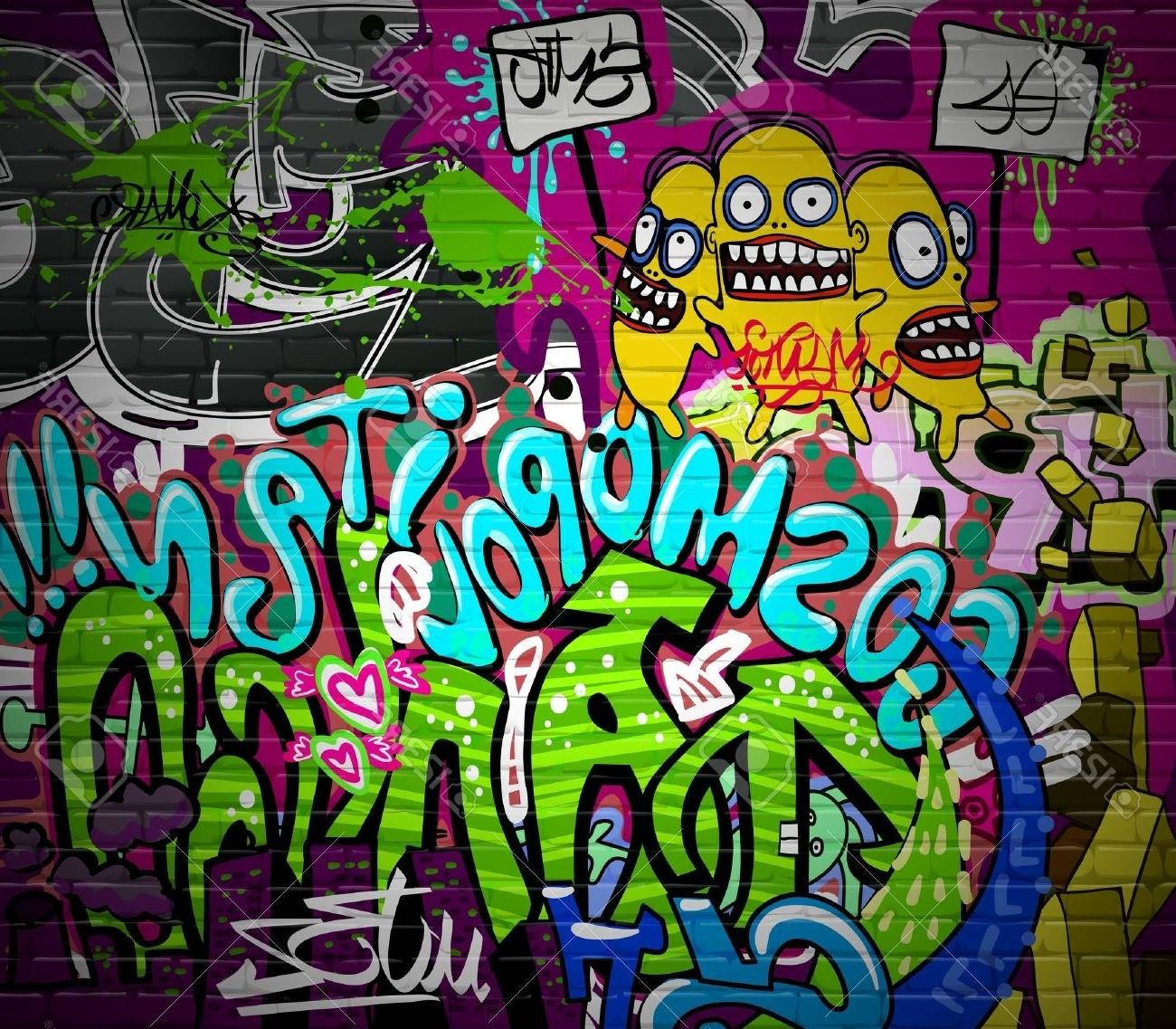 Most Recent Graffiti Wall Urban Art Hintergrund Grunge Hip Hop Künstlerische Inside Hip Hop Wall Art (View 12 of 15)