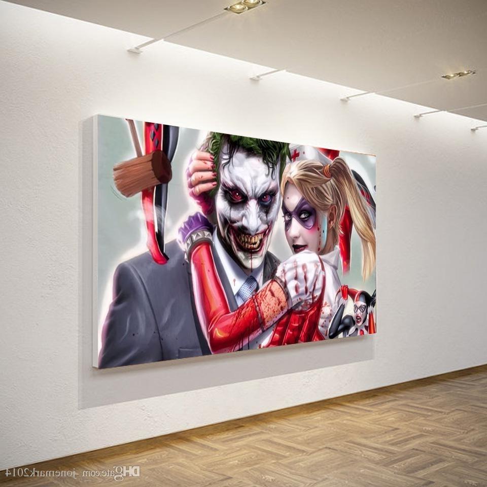 Most Recent Joker Wall Art Throughout 2018 Joker Harley Quinn Comics Wall Art Canvas Pictures For Living (View 17 of 20)