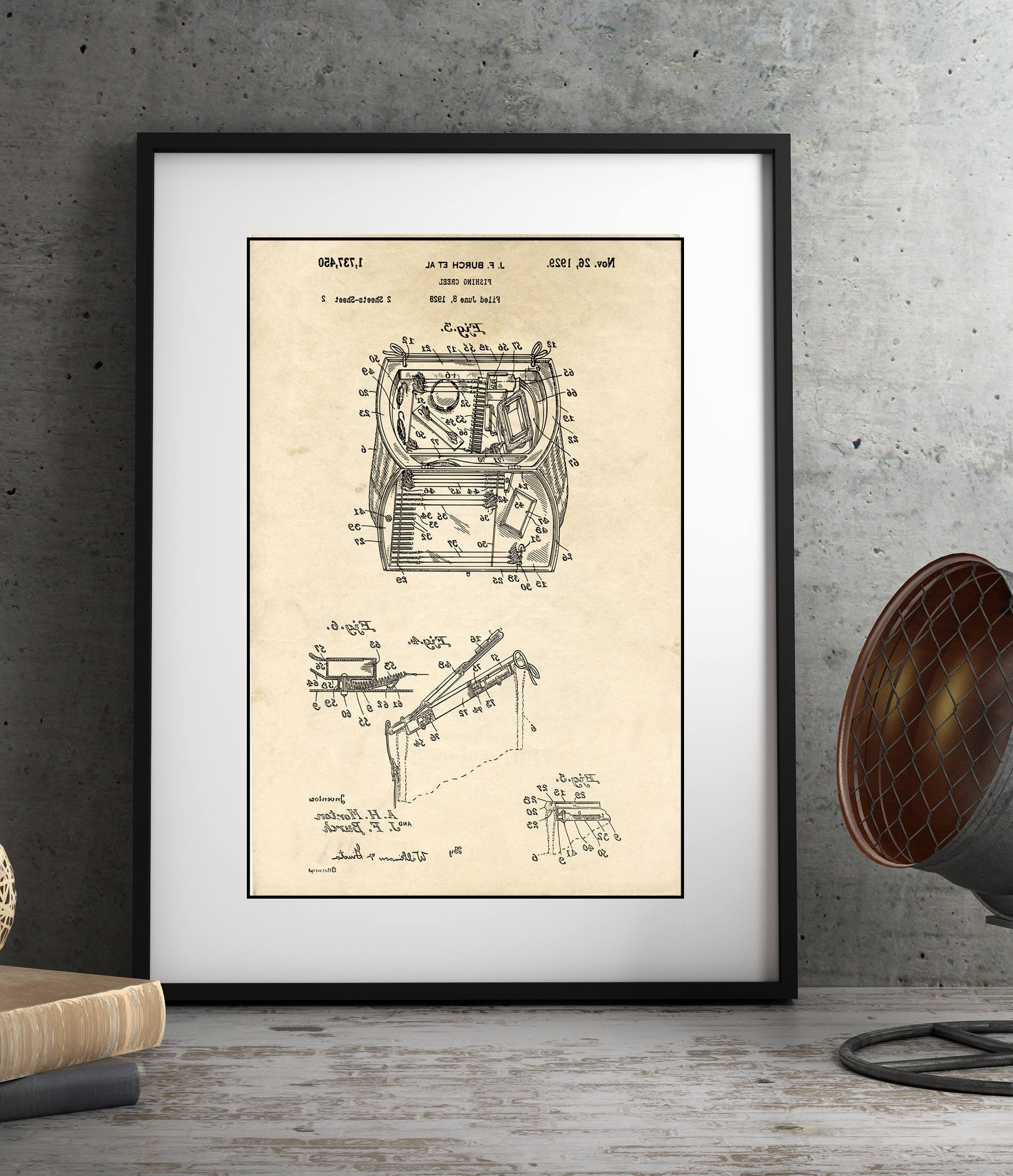 Most Recent Lake House Wall Art In Lake House Decor, Fishing Creel Patent Illustration, Farmhouse Decor (View 12 of 15)