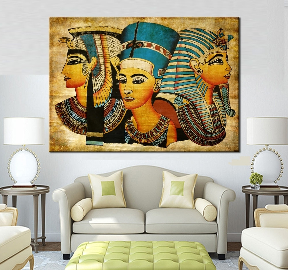 Most Recent Large Wall Art Canvas Pharaoh Of Egyptian Home Decoration Paintings Throughout Large Canvas Painting Wall Art (View 10 of 20)