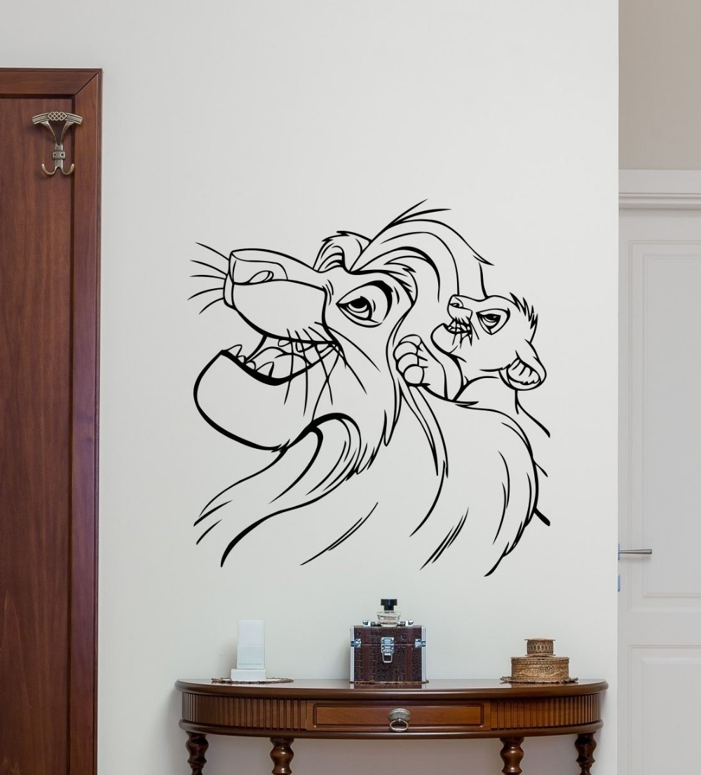 Most Recent Lion King Wall Decal Cartoons Vinyl Sticker Simba Nursery Wall Decor Inside Lion King Wall Art (View 11 of 20)
