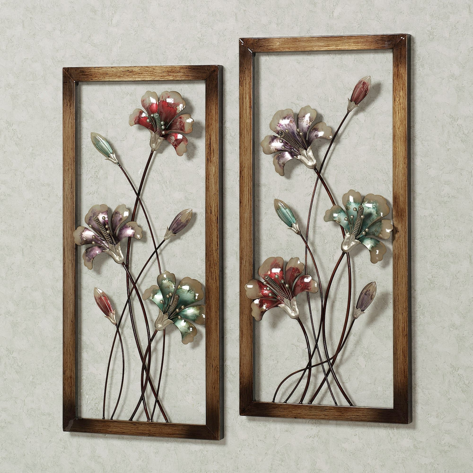 Most Recent Metal Flower Wall Art Pertaining To Garden Whispers Floral Metal Wall Art Panel Set (View 10 of 15)