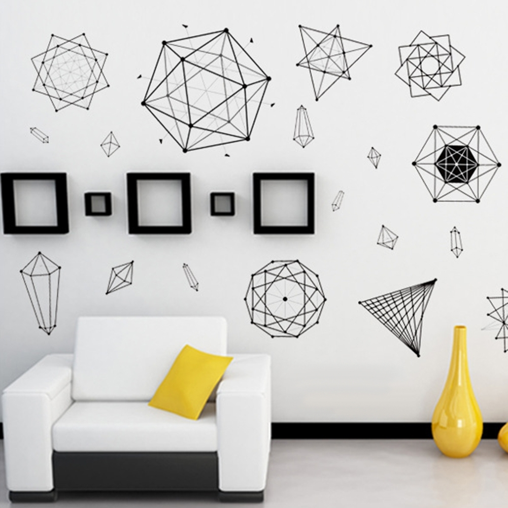 Most Recent Minimalist Geometric Wall Art Sticker Decal Home School Classroom With Regard To Geometric Wall Art (View 12 of 20)
