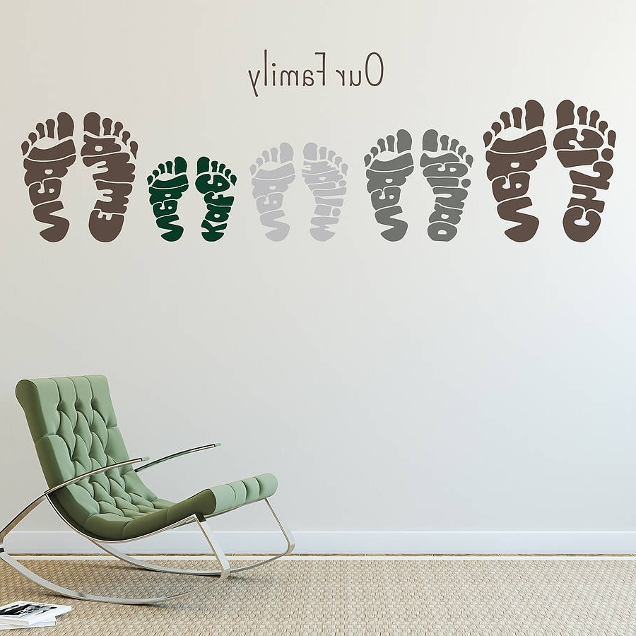 Most Recent Personalised Footprint Wall Art Stickersname Art With Regard To Name Wall Art (Gallery 4 of 20)