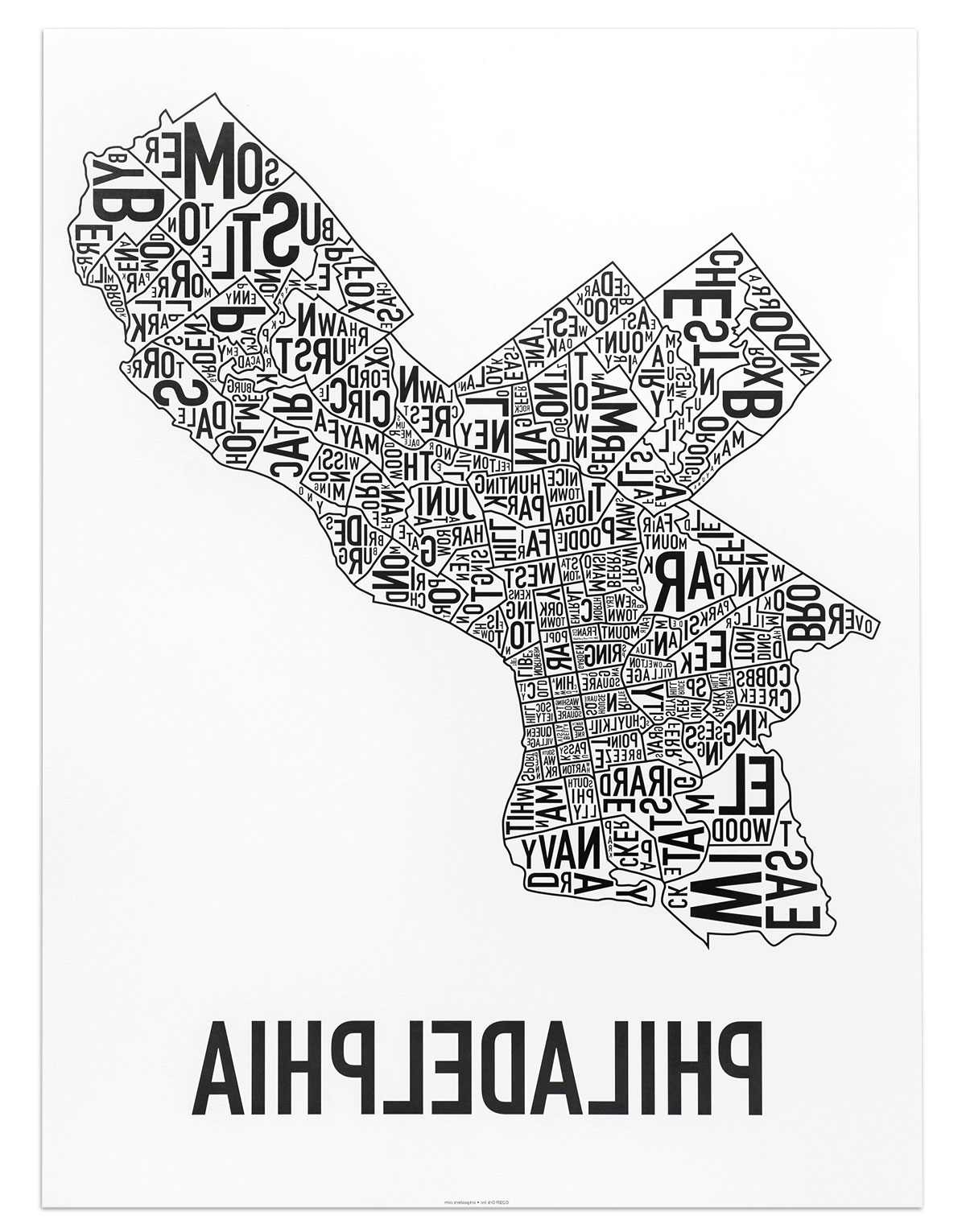 "Most Recent Philadelphia Map Wall Art Throughout Philadelphia Neighborhood Map 18"" X 24"" Classic Black & White Poster (View 11 of 20)"