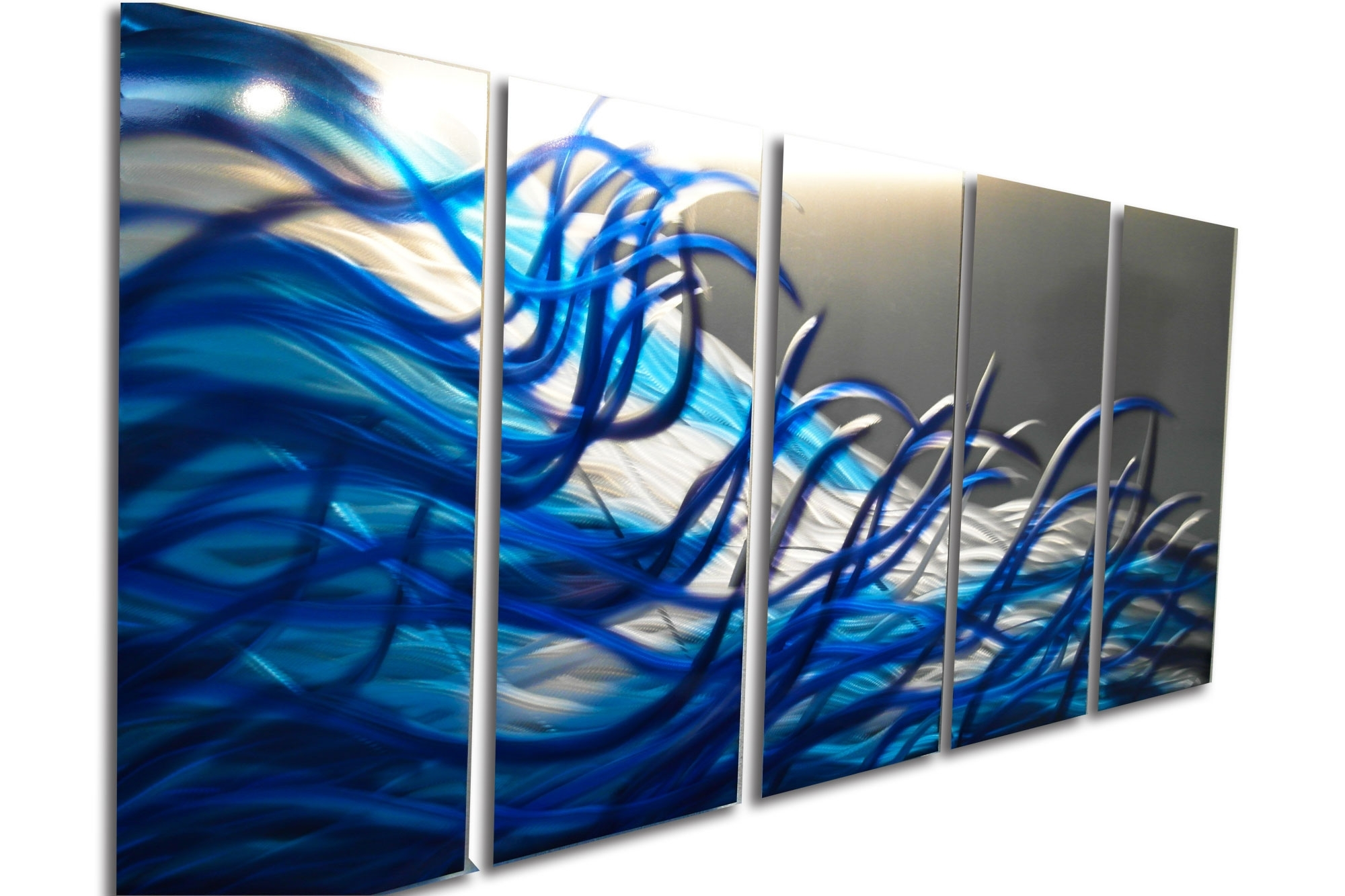 Most Recent Resonance Blue 36x79 Metal Wall Art Contemporary Modern Decor Within Contemporary Metal Wall Art (View 12 of 15)