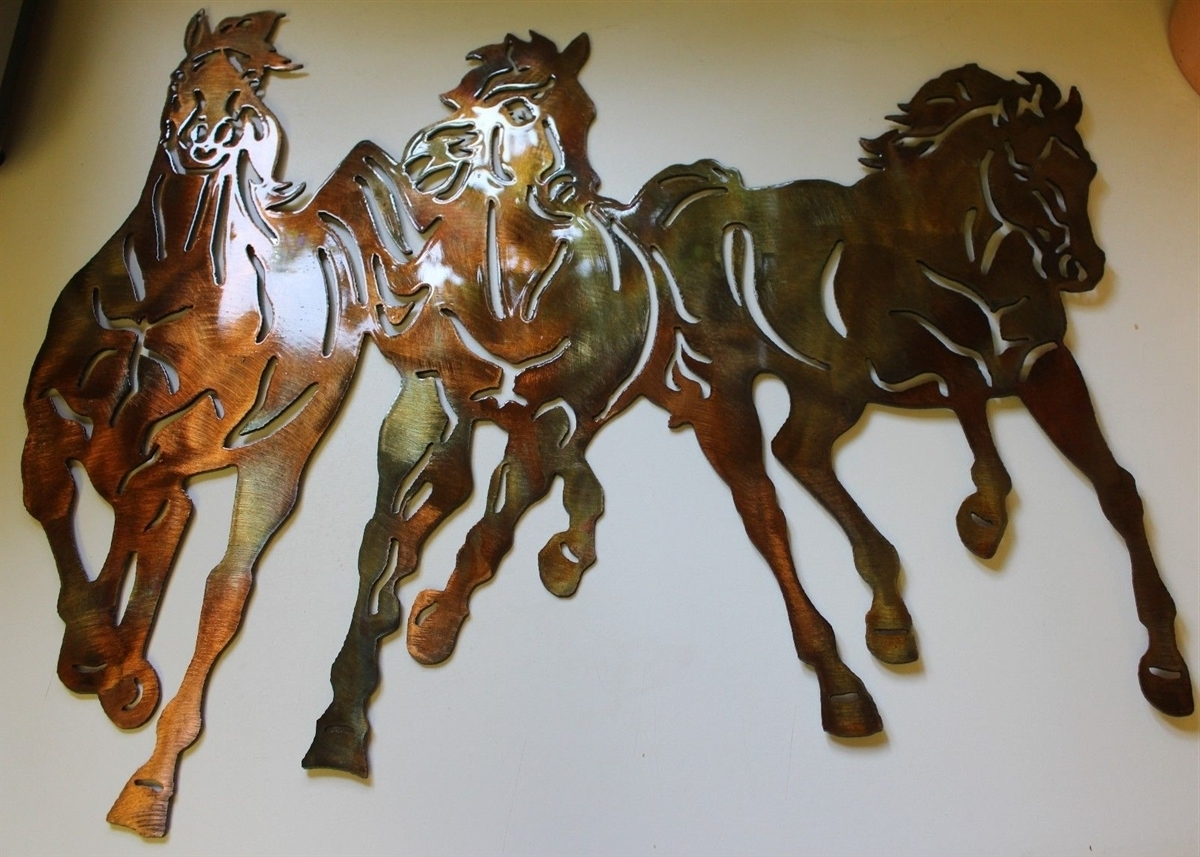 Most Recent Running Free Western 3 Horses Metal Wall Art Decor Throughout Western Wall Art (View 15 of 20)