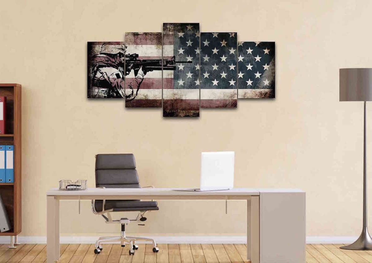 Most Recent Rustic American Flag Wall Art Within Rustic American Flag With Us Army Soldier Wall Art Canvas Painting (View 6 of 20)