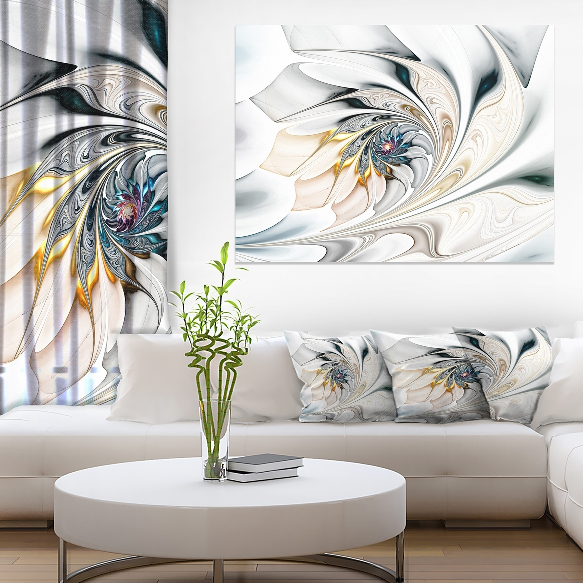 Most Recent Shop White Stained Glass Floral Art – Large Floral Wall Art Canvas With Regard To Stained Glass Wall Art (View 6 of 20)
