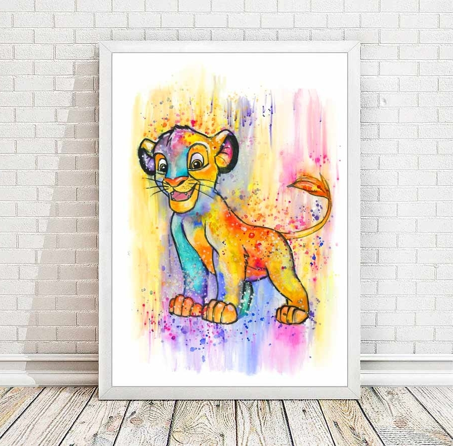 Most Recent Simba Watercolor Abstract Print Disney Poster The Lion King Intended For Lion King Wall Art (Gallery 10 of 20)