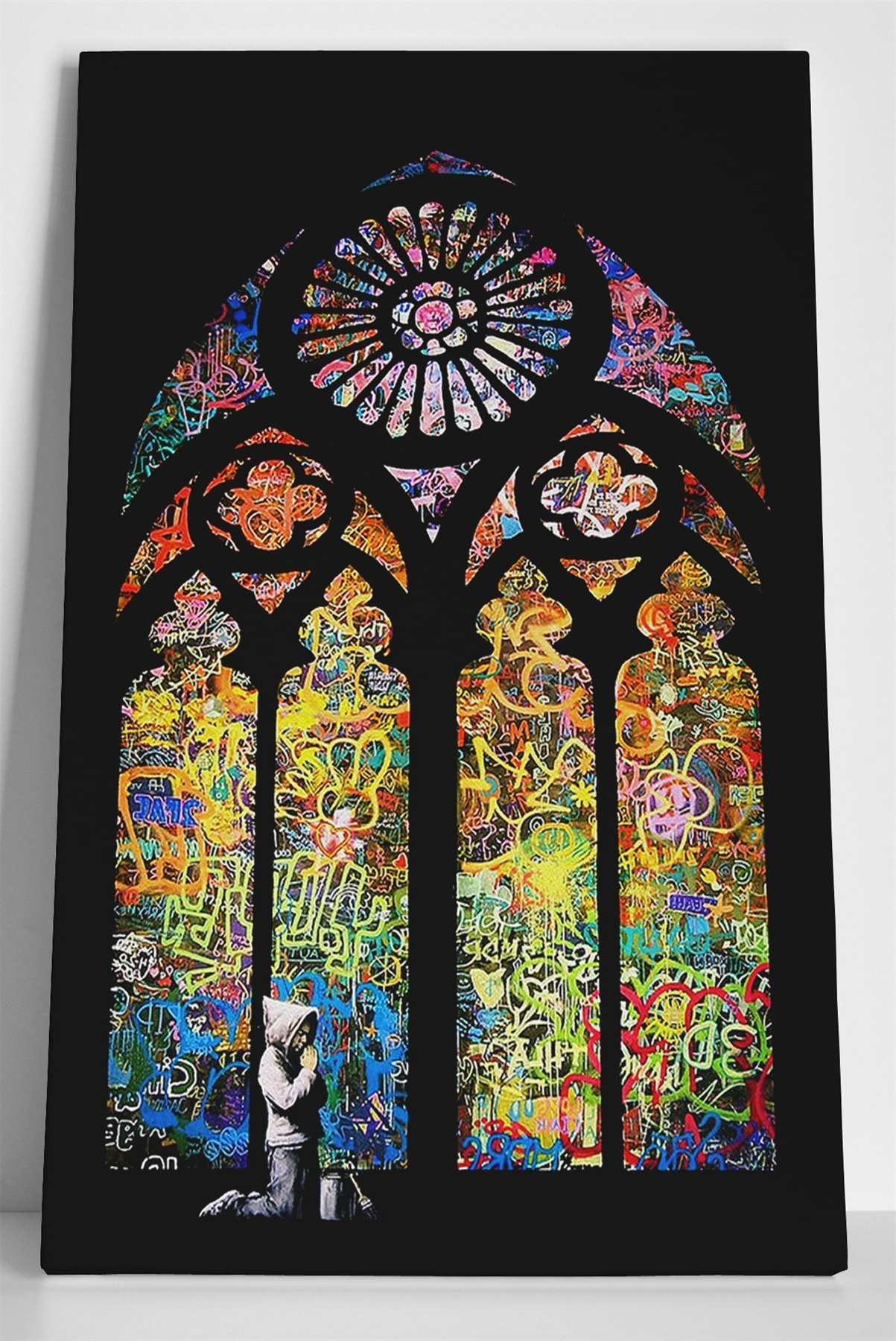 Most Recent Stained Glass Wall Art Within Banksy Stained Glass Box Canvas Print Wall Art – Church Window (View 12 of 20)