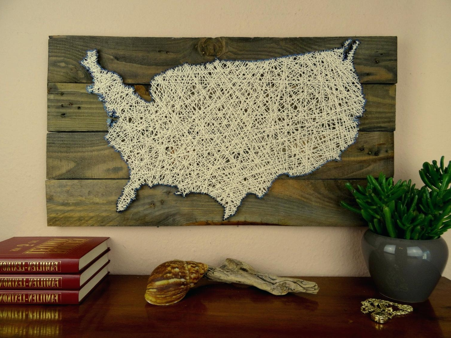 Most Recent String Map Wall Art In Wall Decals Usa Map String Art Reclaimed Wood Shabby Chic Wedding (View 12 of 20)