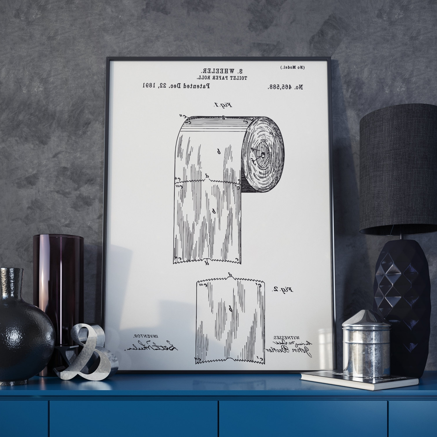 Most Recent The Original Toilet Paper Roll Patent Print – 1891 Throughout Boston Wall Art (Gallery 13 of 20)