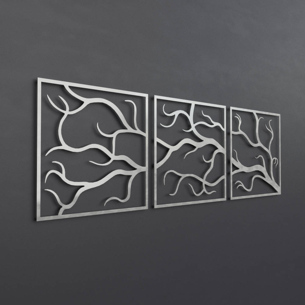 Most Recent Tree Branches Outdoor Metal Wall Art, 3 Piece Multi Panel Wall Art For Black Metal Wall Art (Gallery 7 of 20)