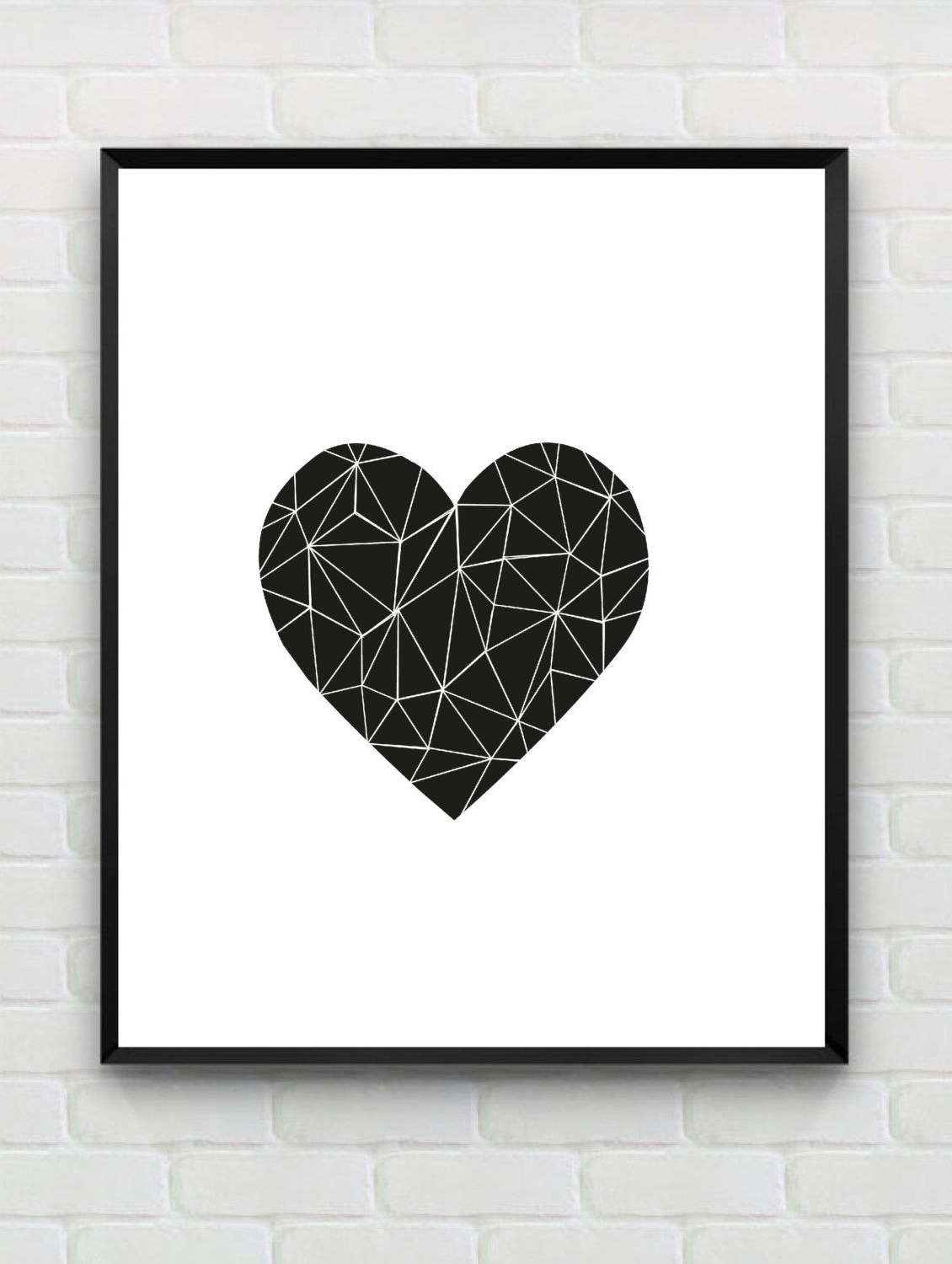 Most Recent White Wall Art For Printable Art Heart Print, Love Print, Polygon Wall Art, Geometric (View 9 of 20)
