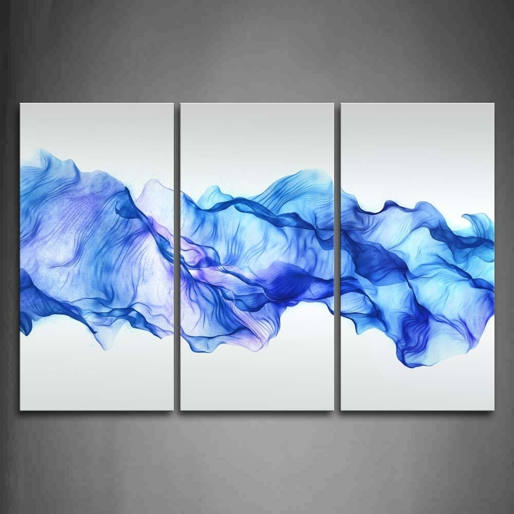Most Recently Released 3 Panels Wall Painting Blue Smoked Abstract Canvas Modern Home Room Within Wall Art Paintings (View 11 of 20)