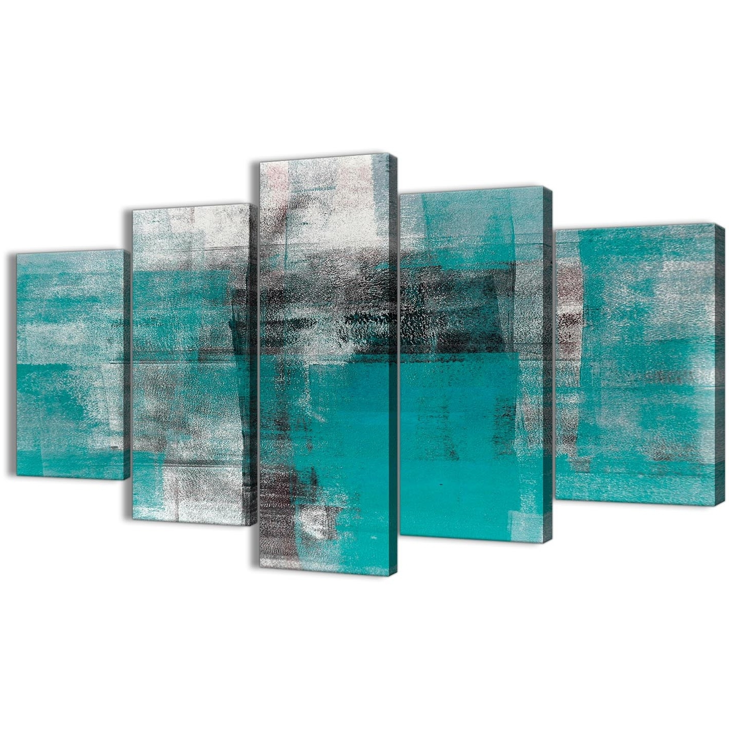 Most Recently Released 5 Part Teal Black White Painting Abstract Office Canvas Wall Art Intended For Oversized Teal Canvas Wall Art (View 7 of 20)