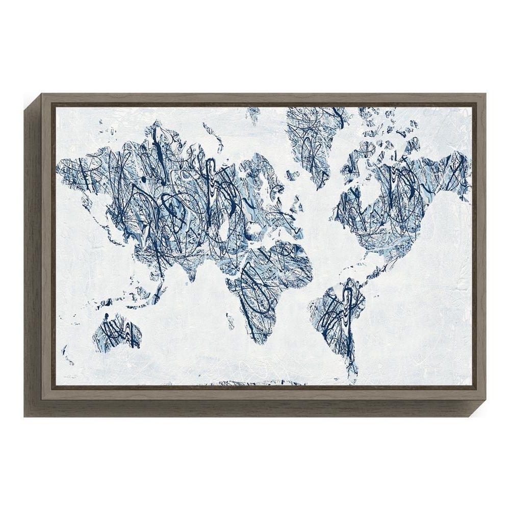 "Most Recently Released Amanti Art ""world On A String Map""piper Rhue Framed Canvas Wall Intended For String Map Wall Art (View 13 of 20)"