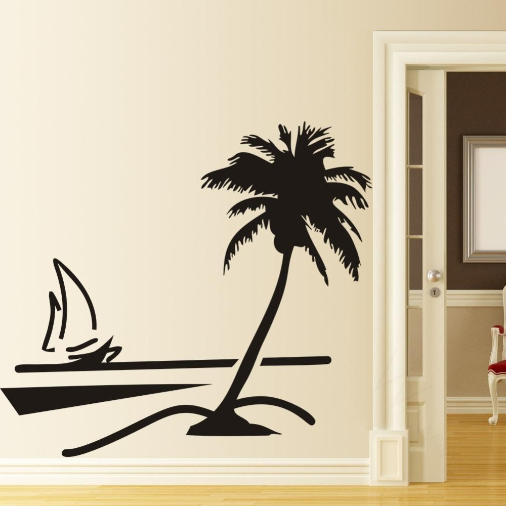 Most Recently Released Beach Coconut Palm Tree Sailboat Wall Art Bathroom Glass Modern Art Inside Palm Tree Wall Art (View 8 of 20)