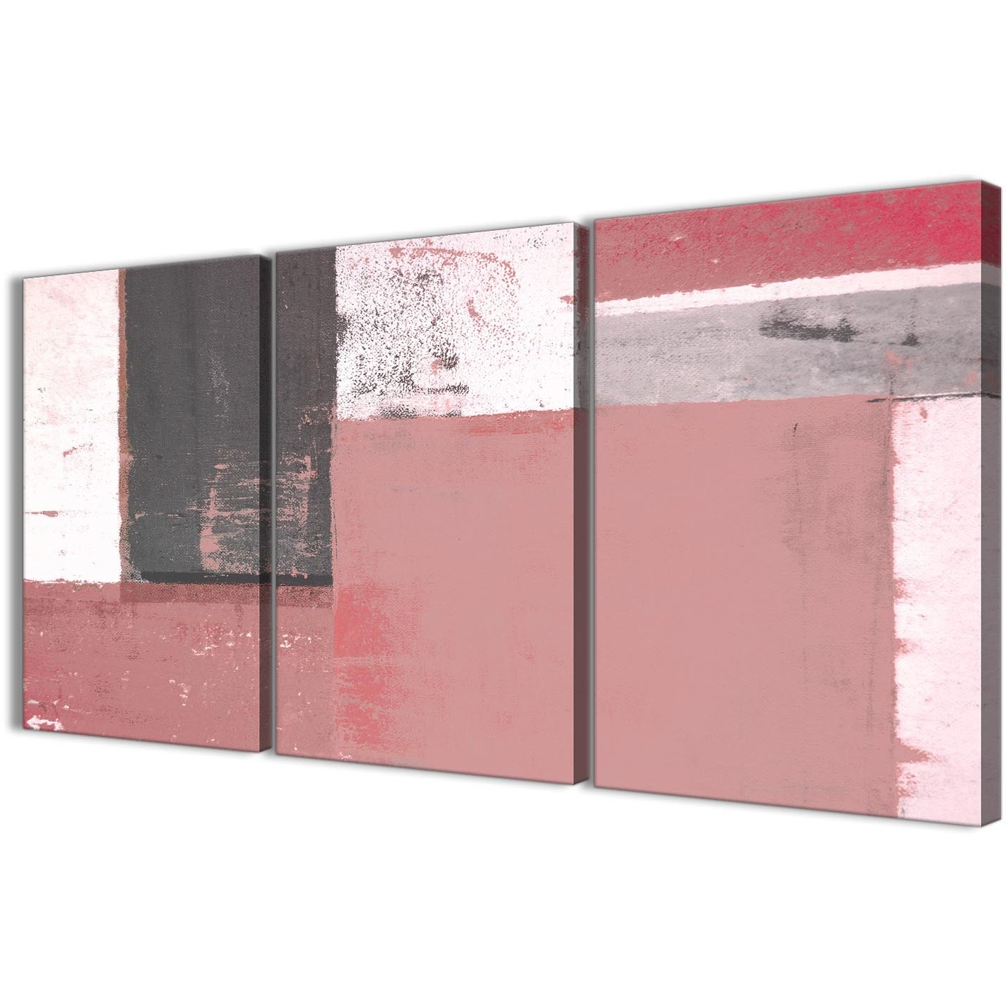 Most Recently Released Blush Pink Grey Abstract Painting Canvas Wall Art Print – Multi 3 Throughout Pink Wall Art (View 10 of 20)
