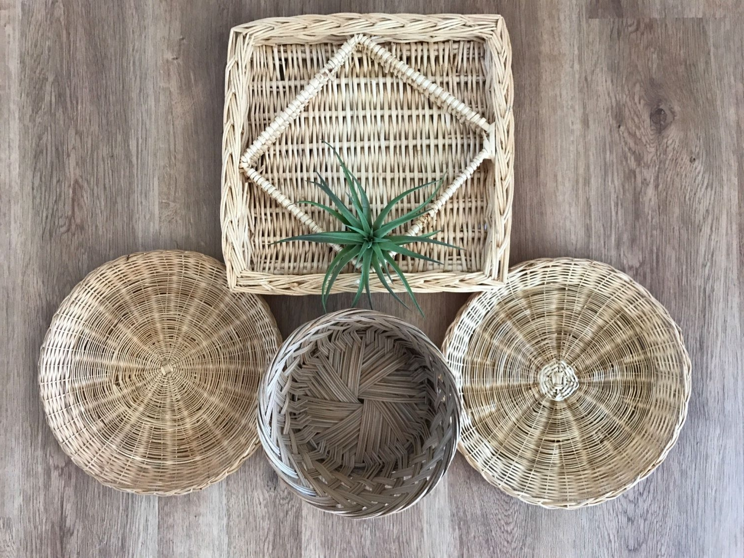 Most Recently Released Boho Vintage Ser Of Wicker Rattan Woven Wall Hanging Baskets For Woven Basket Wall Art (Gallery 19 of 20)