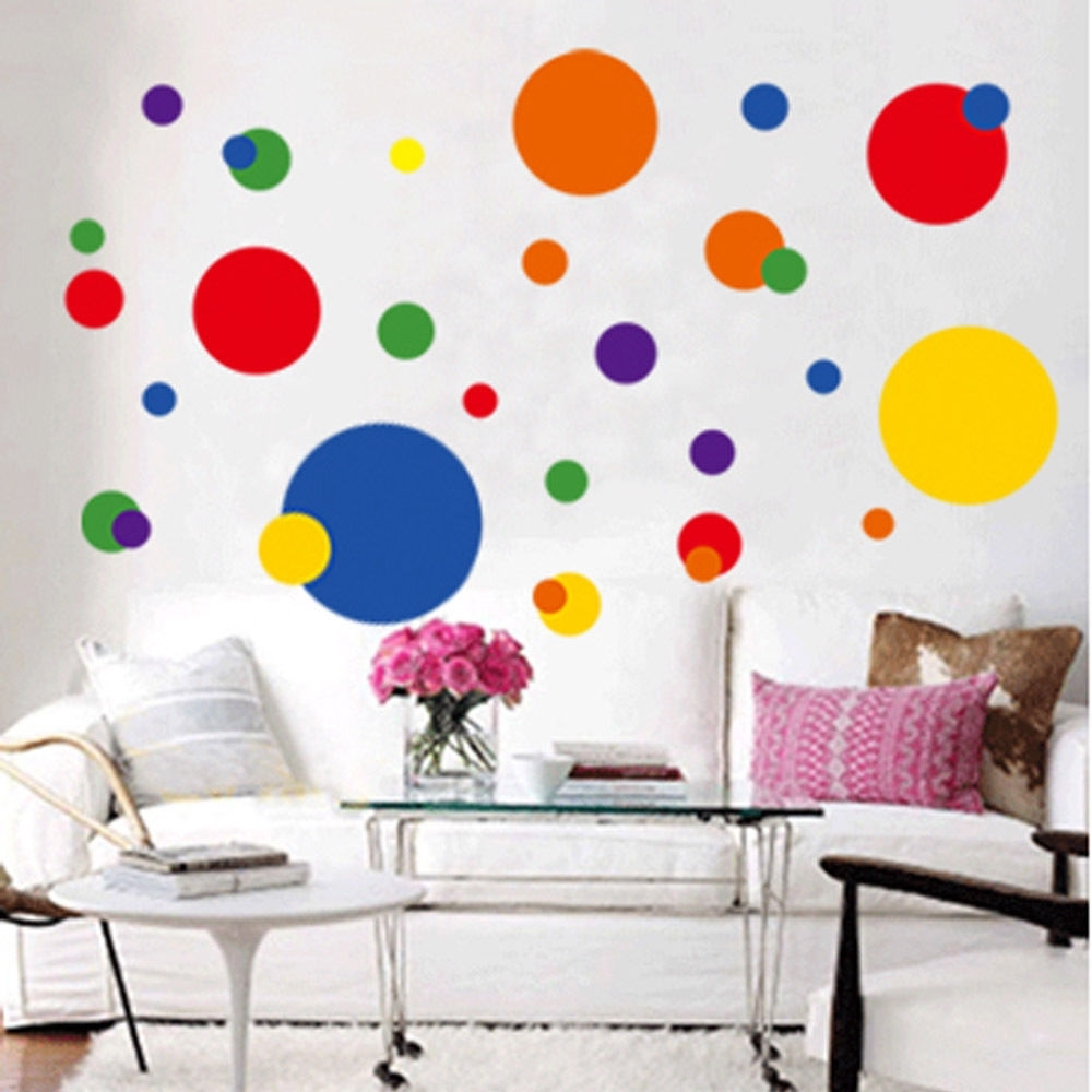 Most Recently Released Circle Wall Art Pertaining To Removable Circle Polka Dots Wall Art Vinyl Sticker Decal Mural (View 11 of 20)