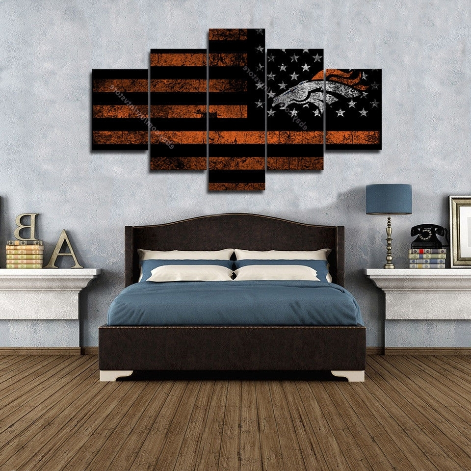 Most Recently Released Denver Broncos American Flag Wall Art Canvas Vintage Football Retro With Broncos Wall Art (View 14 of 20)