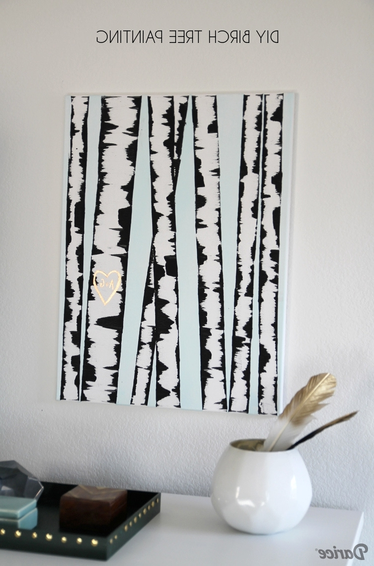Most Recently Released Diy Wall Art: Birch Tree Painting Tutorial – Darice In Diy Wall Art (View 7 of 15)