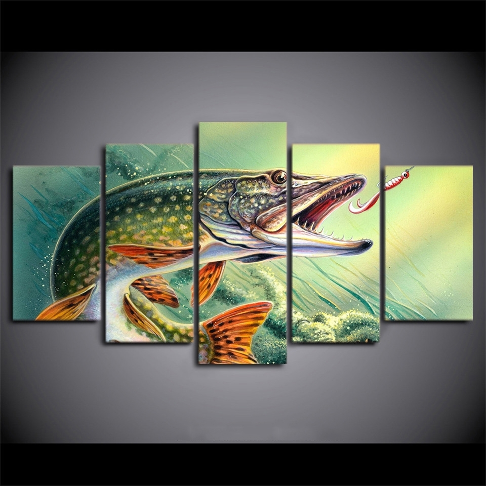 Most Recently Released Fish Painting Wall Art Inside Home Decoration Canvas Painting Abstract Decorative 5 Panel Animal (View 13 of 20)