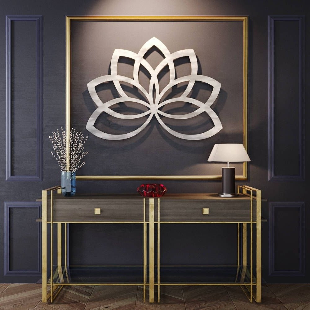 Most Recently Released Geometric Lotus Flower Metal Wall Art, Metal Flower Wall Art, Large Intended For Metal Flowers Wall Art (View 16 of 20)