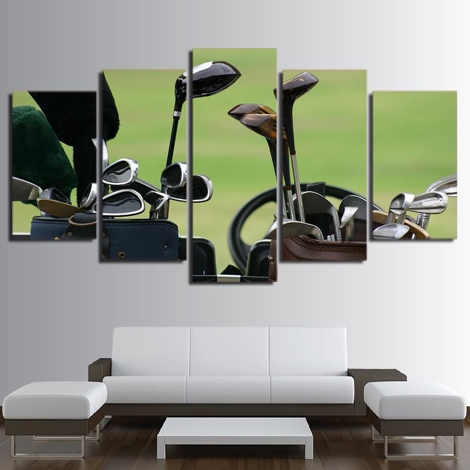 Most Recently Released Golf Canvas Wall Art Regarding Framed 5 Piece Golf Clubs Canvas Wall Art Paintings Home Decor (View 10 of 20)