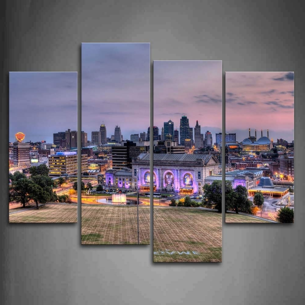 Most Recently Released Kansas City Wall Art Pertaining To Amazon: Buildings Of Kansas City With Wide Square Wall Art (View 14 of 20)