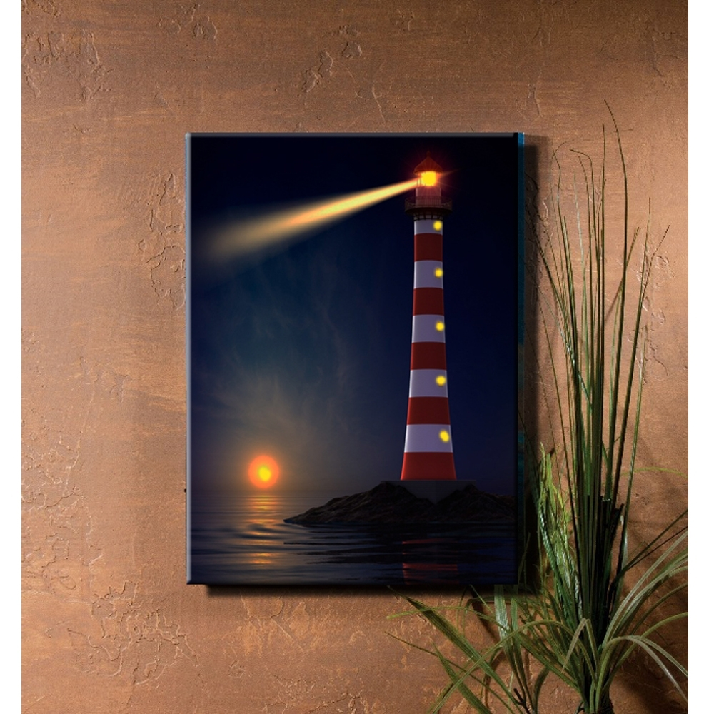 Most Recently Released Light Up Wall Art With Regard To Lighted Lighthouse Coastal Illuminate Sunset Seascape View Canvas (View 12 of 20)
