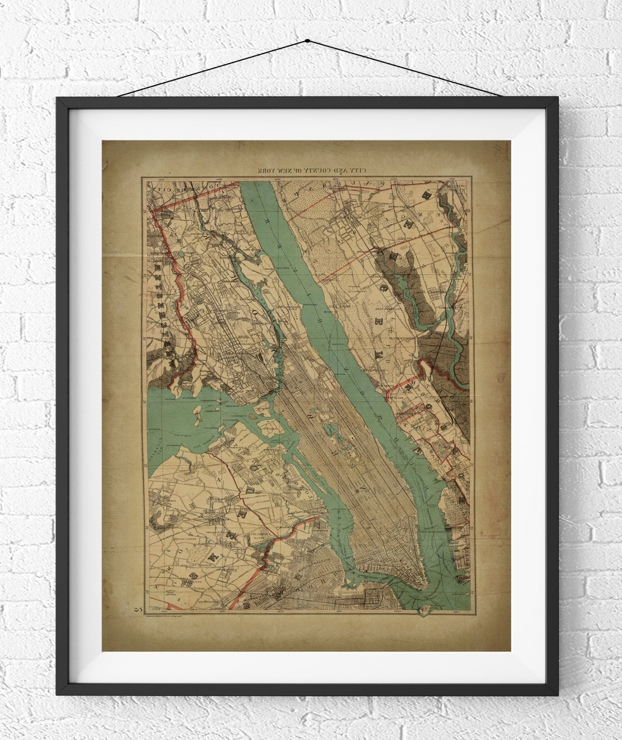 Most Recently Released New York City Map Print, Vintage Map Art, Antique Map, Nyc Map, New With Regard To New York City Map Wall Art (View 6 of 20)