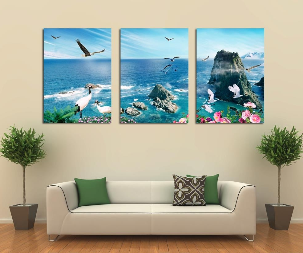 Most Recently Released Panel Wall Art Within Free Shipping 3 Panel Canvas Art Home Decoration Wall Art Beach (View 5 of 20)