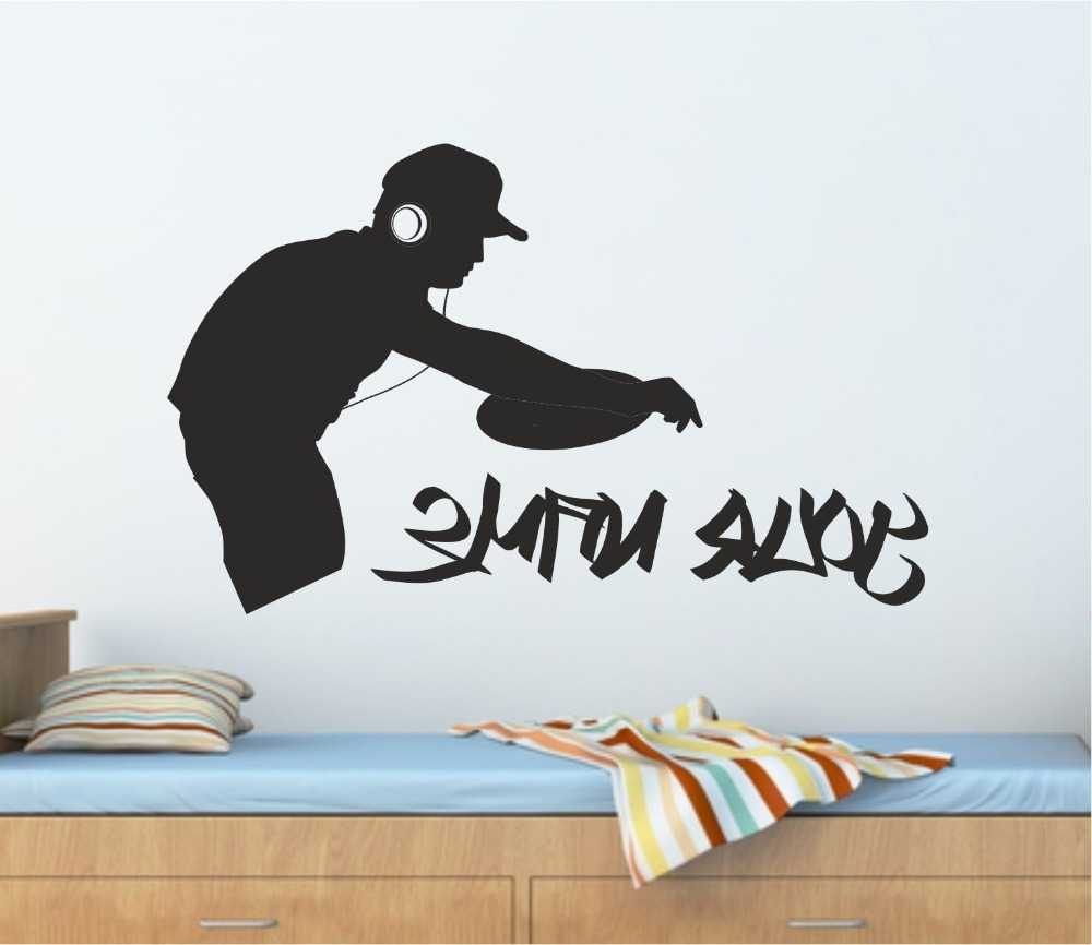 Most Recently Released Personalised Graffiti Dj Decks Music Wall Art Sticker, Decal With Regard To Music Wall Art (View 6 of 15)
