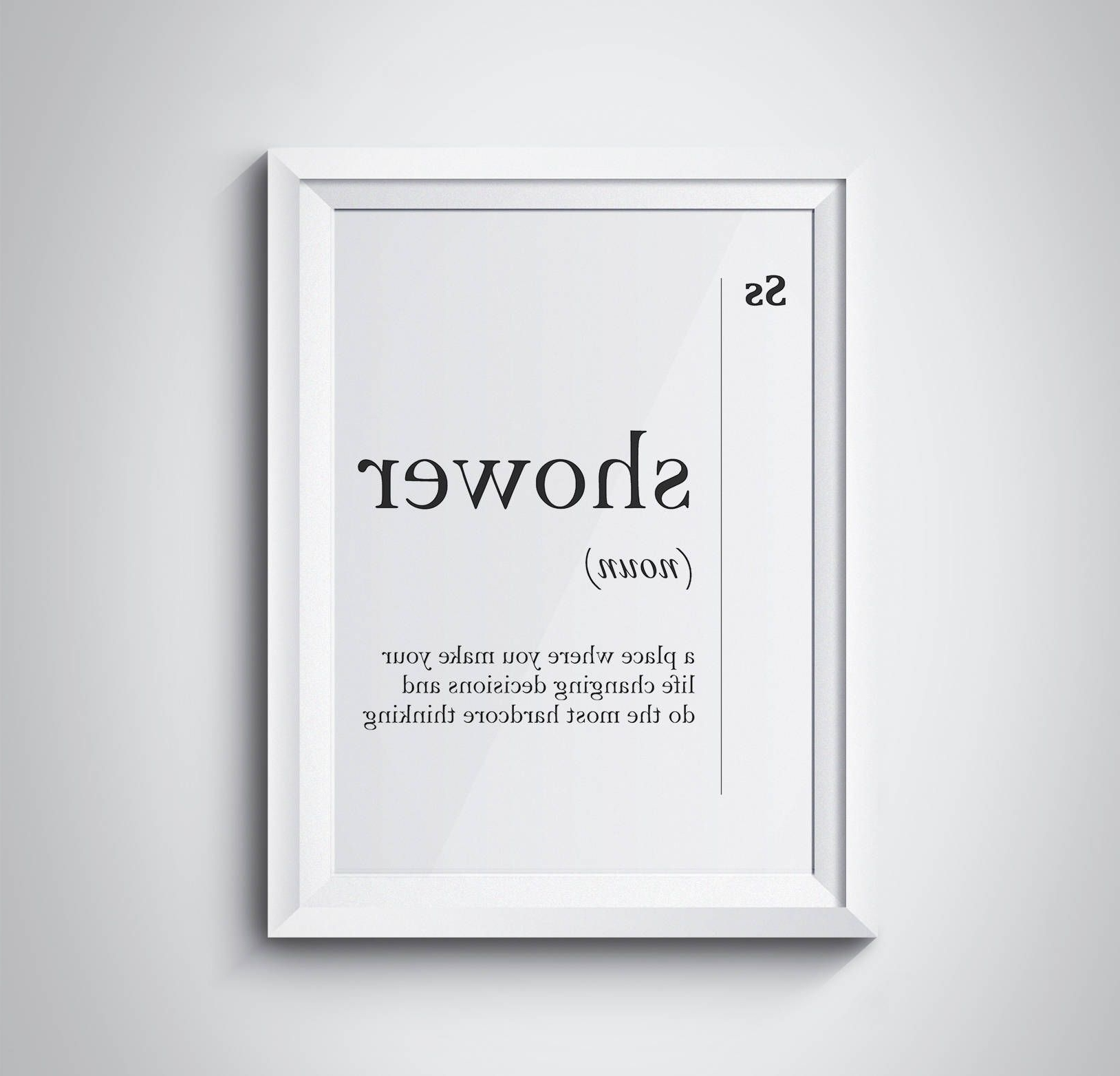 Most Recently Released Shower Definition Bathroom Print Bathroom Wall Art Funny Bathroom Throughout Bathroom Wall Art (View 11 of 15)