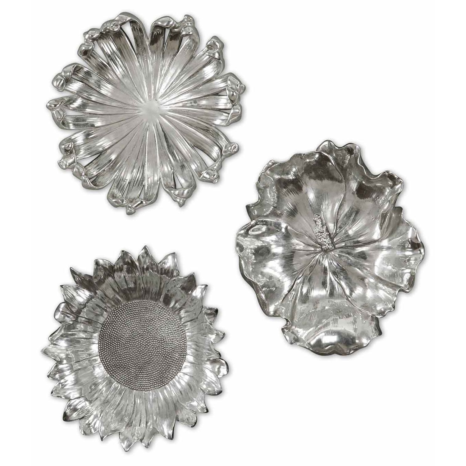 Most Recently Released Silver Flowers Metal Wall Art, Set Of Three Uttermost Wall Sculpture In Silver Metal Wall Art (View 2 of 20)