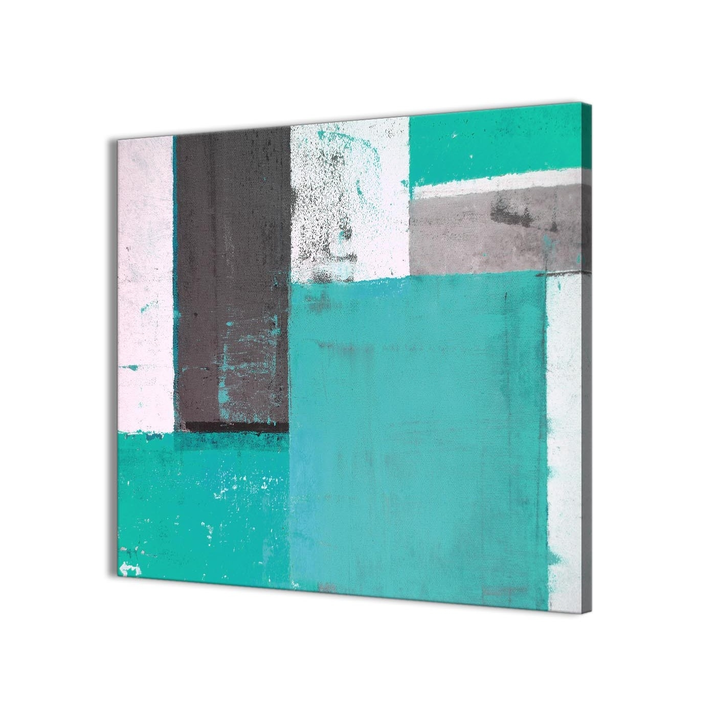 Most Recently Released Turquoise Wall Art In Turquoise Grey Abstract Painting Canvas Wall Art Modern 64Cm Square (View 13 of 20)