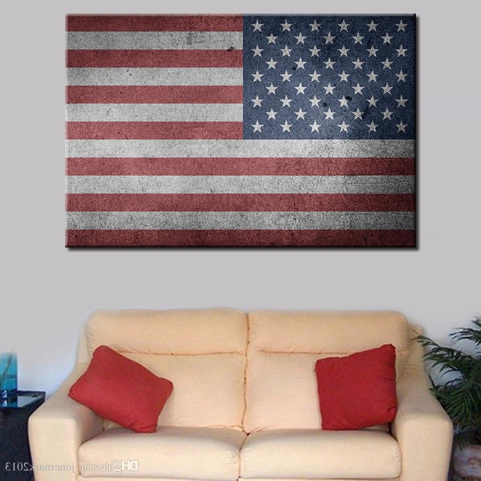 Most Recently Released Vintage American Flag Wall Art With Regard To 2018 Canvas Paintings Living Room Home Decor Wall Art /pcs Usa Flag (Gallery 8 of 20)