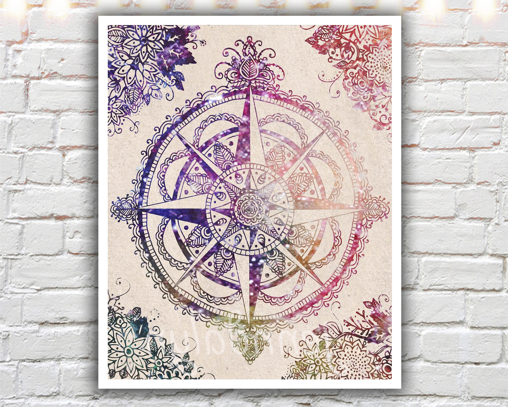 Most Recently Released Voyager Ii – 16 X 20 Paper Print, Large Wall Art, Compass Rose Pertaining To Henna Wall Art (View 16 of 20)