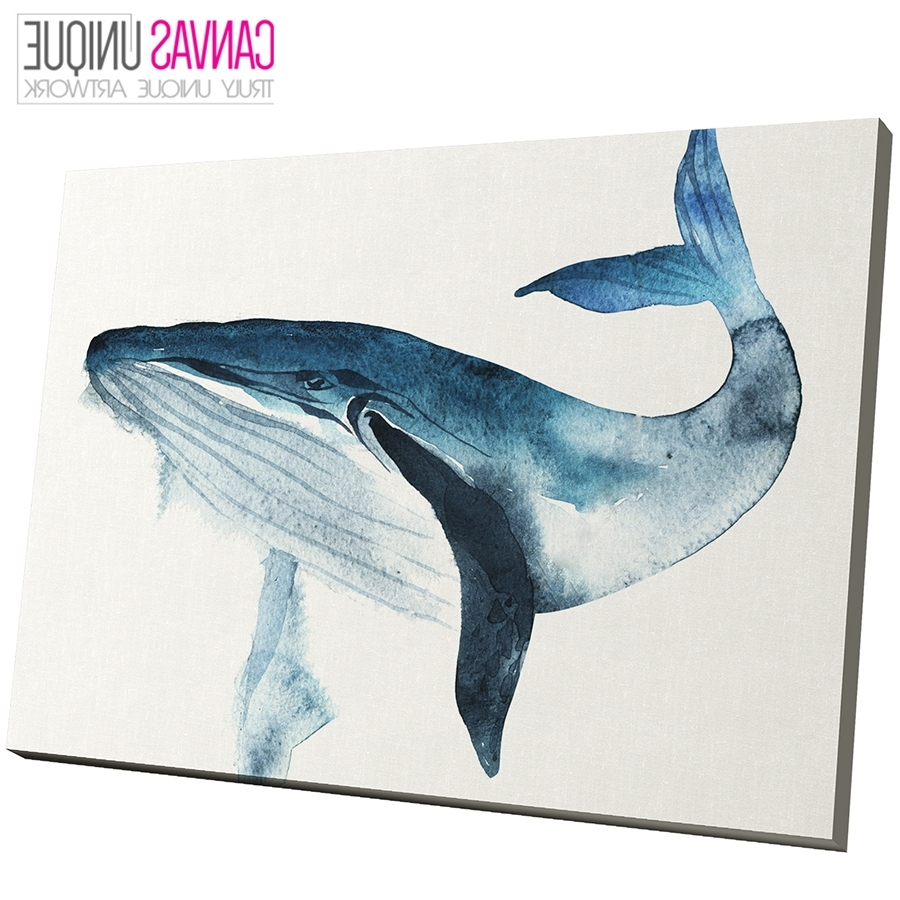Most Recently Released Whale Canvas Wall Art Pertaining To A692 Blue Whale Watercolour Sketch Animal Canvas Wall Art Framed (Gallery 1 of 20)