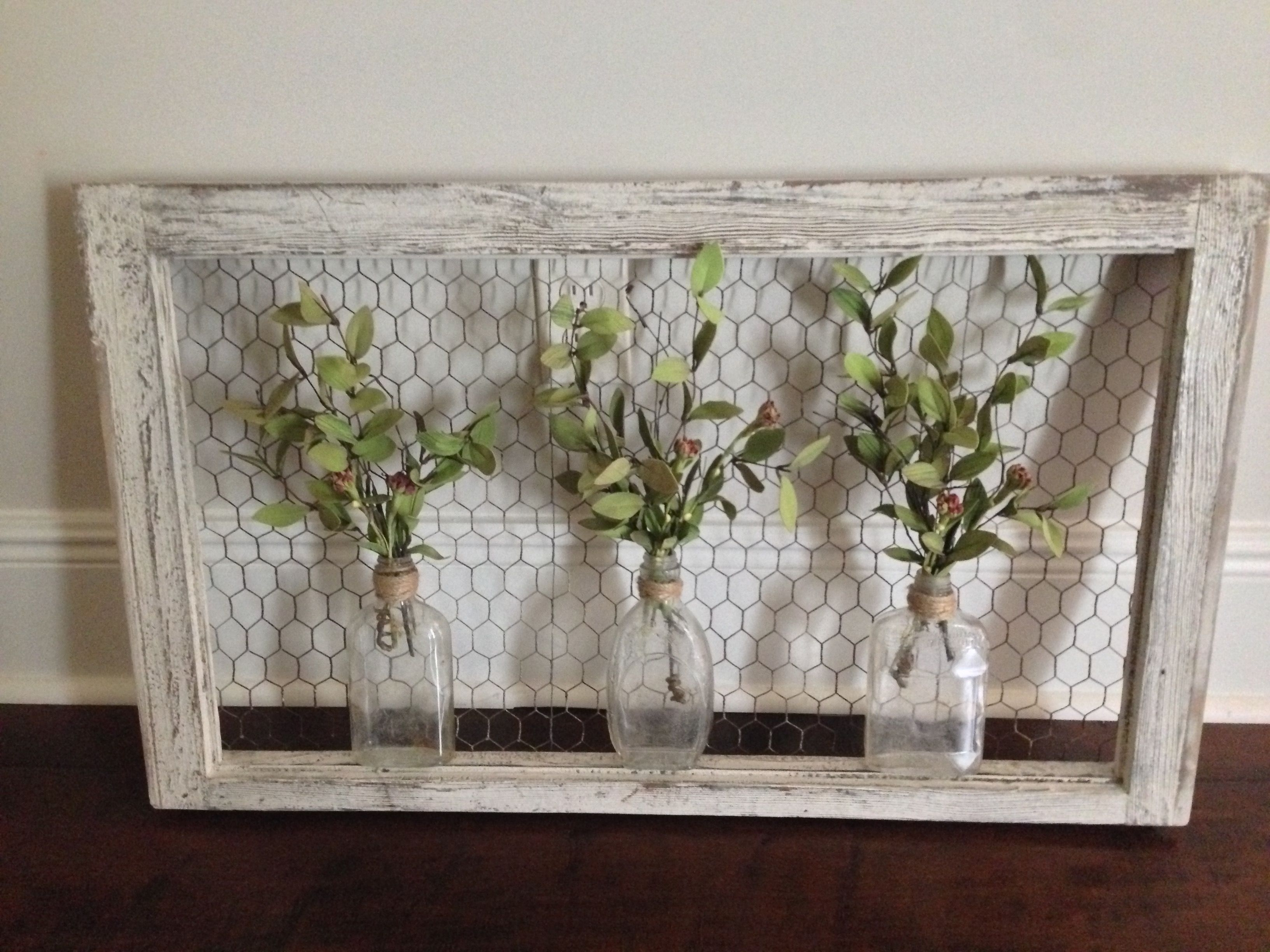 Most Recently Released Window Frame Wall Art For Wall Art: Old Window Frame, Chicken Wire, Old Bottles And Greenery (View 7 of 15)