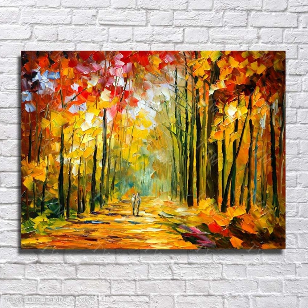 Most Up To Date 2018 Large Canvas Paintings Knife Tree Landscape Oil Painting Wall With Regard To Large Canvas Painting Wall Art (Gallery 17 of 20)
