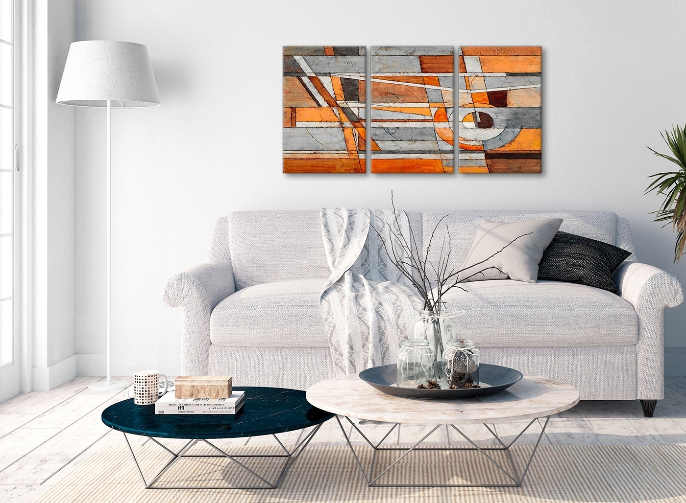 Most Up To Date 3 Piece Burnt Orange Grey Painting Office Canvas Wall Art Decor Inside Gray Canvas Wall Art (View 20 of 20)