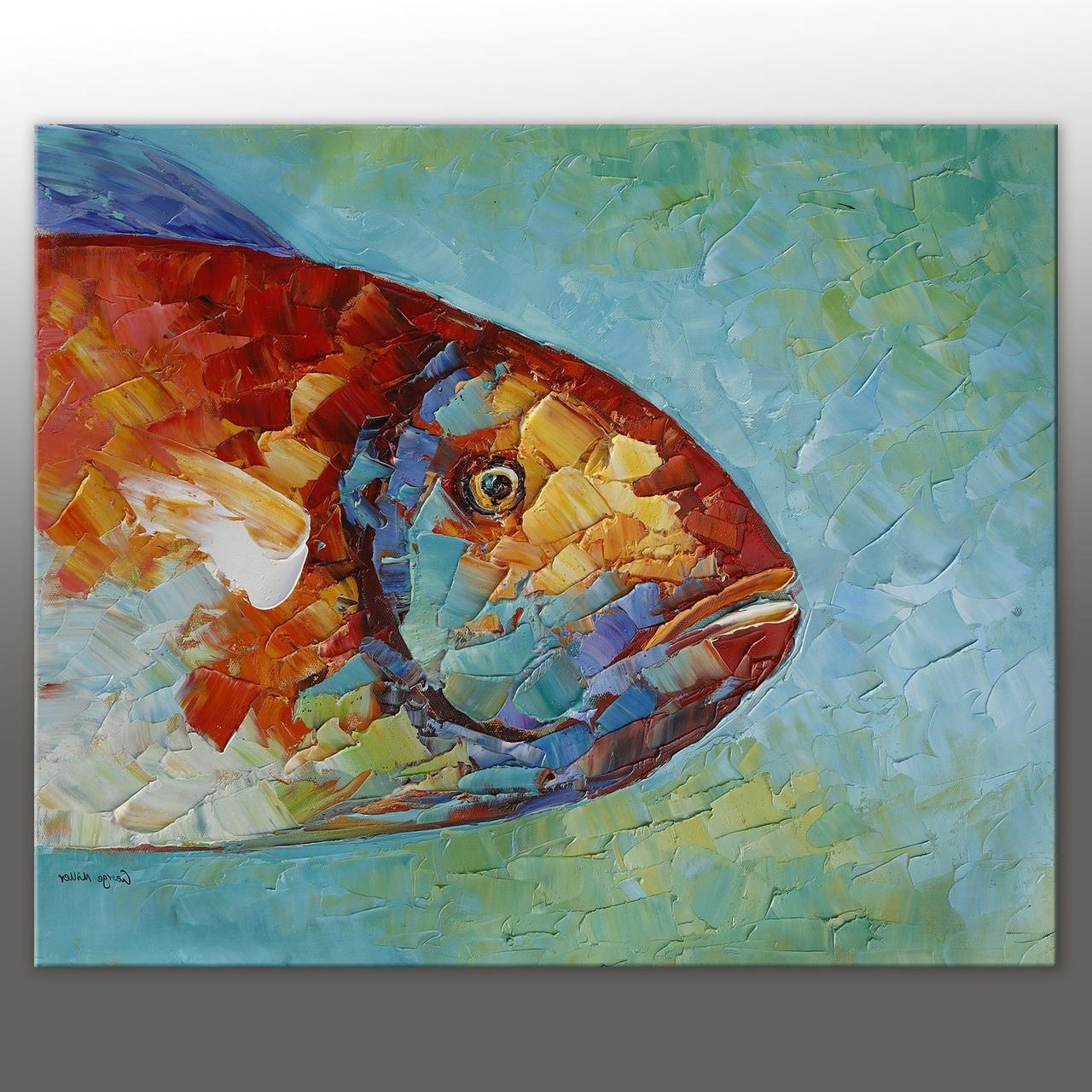 Most Up To Date Abstract Art Fish Painting Original Oil Painting Abstract Canvas Art For Fish Painting Wall Art (View 14 of 20)