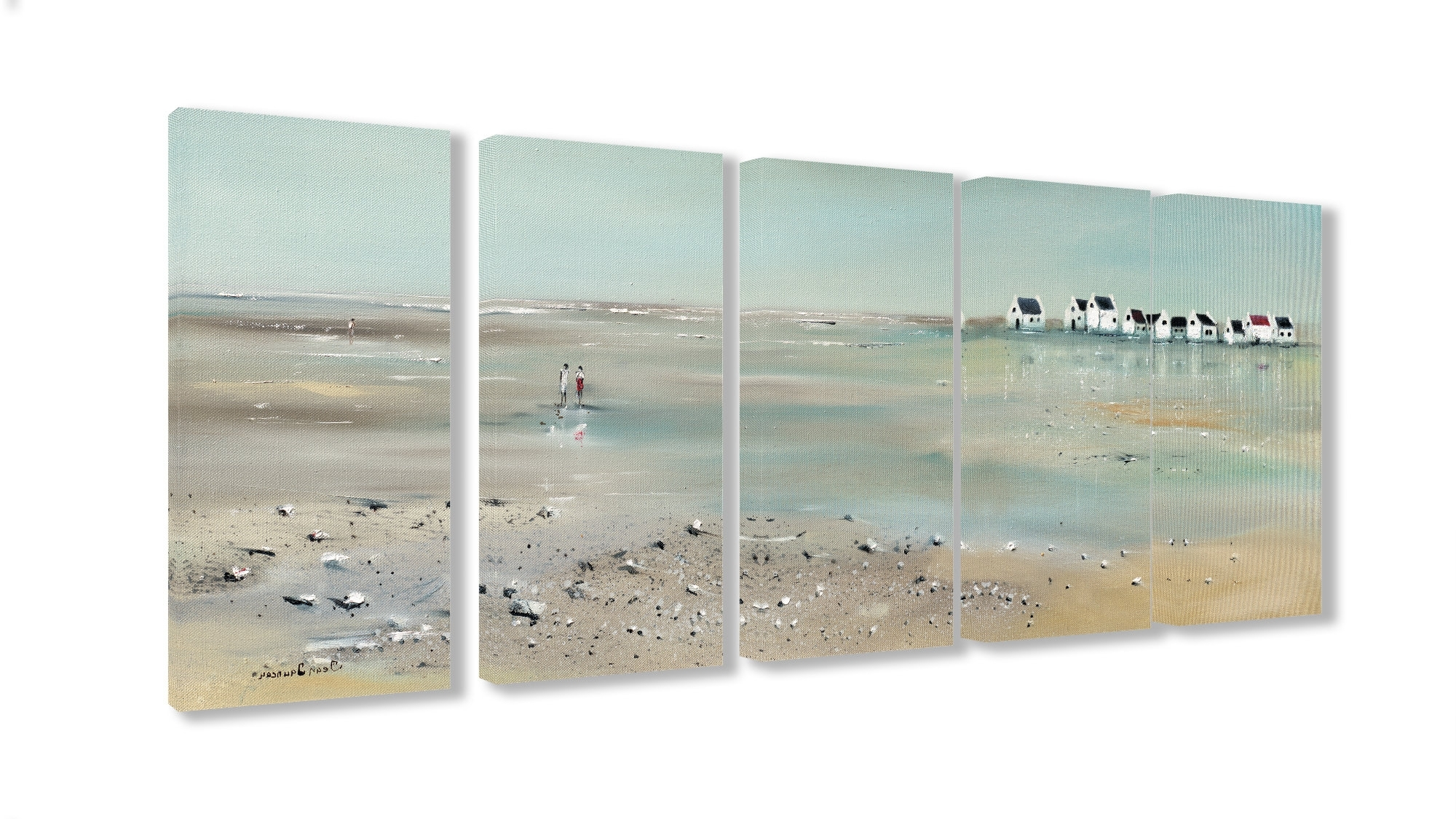 Most Up To Date Beachcrest Home 'a Stroll Down On The Beach' 5 Piece Canvas Wall Art Regarding 5 Piece Canvas Wall Art (View 15 of 20)