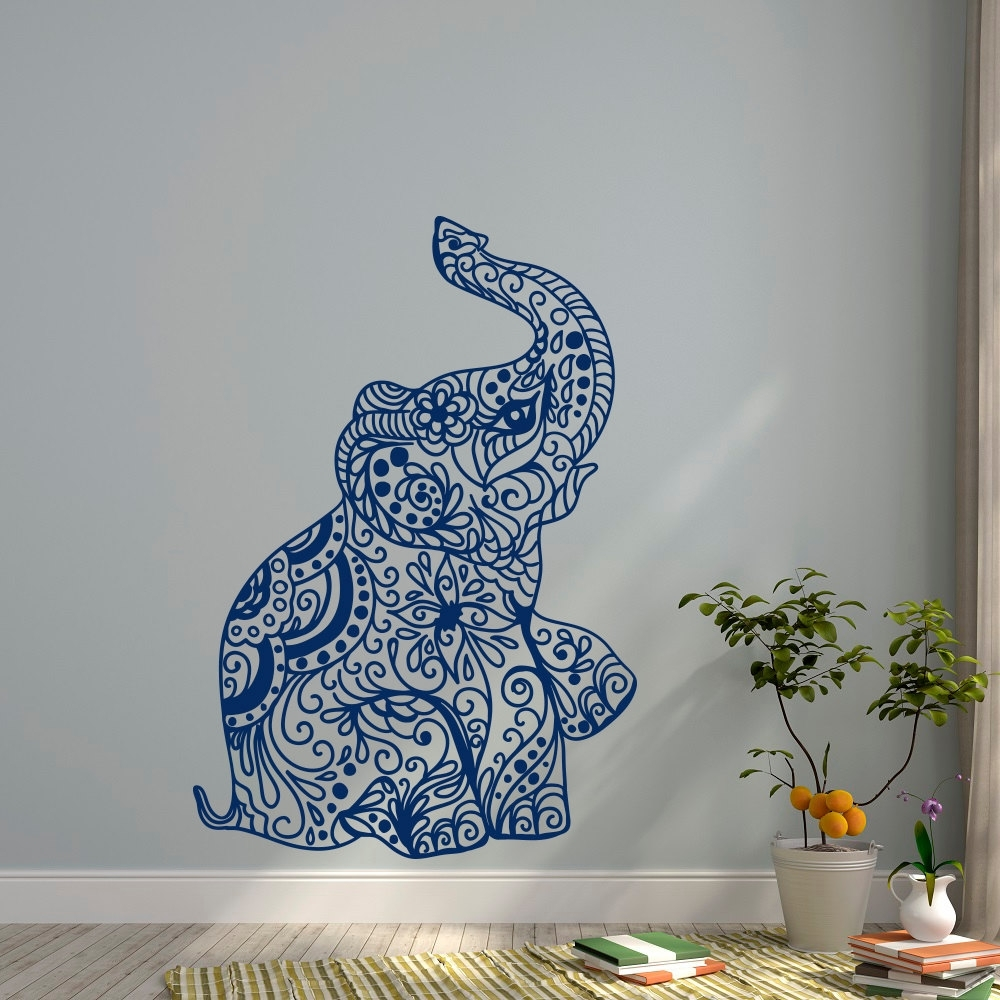 Most Up To Date Bohemian Wall Art Throughout Elephant Yoga Wall Decals Indie Wall Art Bedroom Dorm Nursery Boho (View 16 of 20)