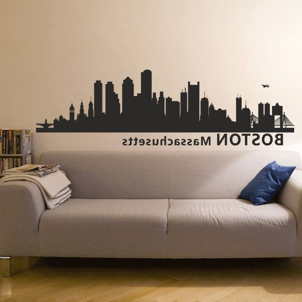 Most Up To Date Boston Massachusetts City Skyline Silhouette Wall Decal Skyline Pertaining To Boston Wall Art (View 5 of 20)